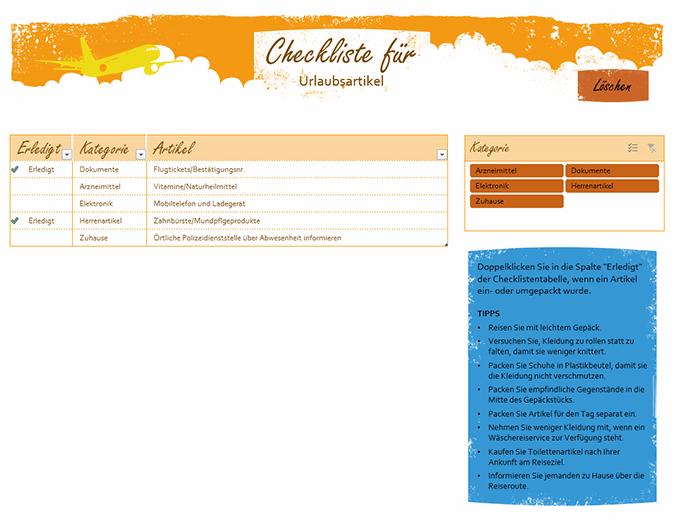 Checkliste für Urlaubsartikel