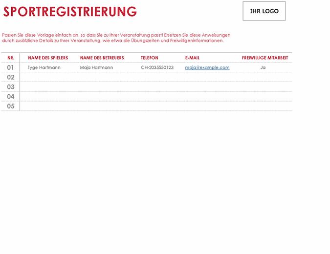 """Anmeldebogen """"Sport"""""""