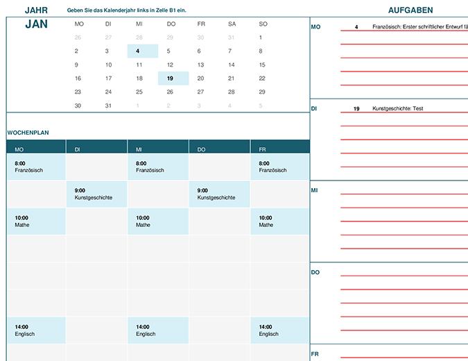 Schul- und Studiumskalender (Mo)