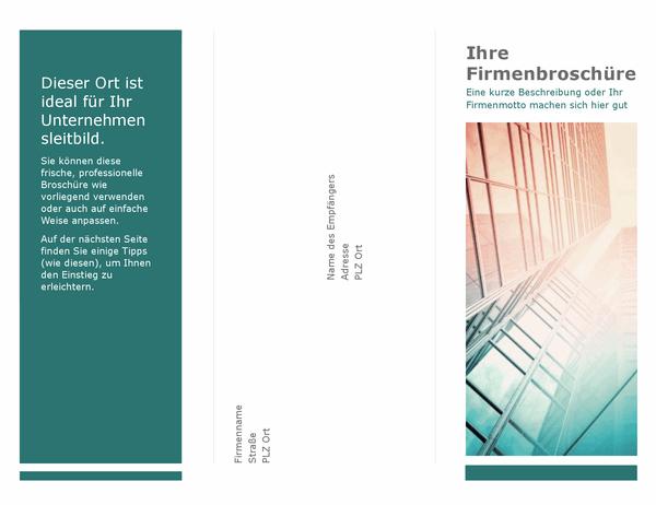 Dreifach gefaltete Broschüre (blau)