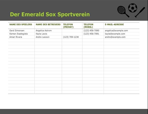Kontaktliste für Jugendsport