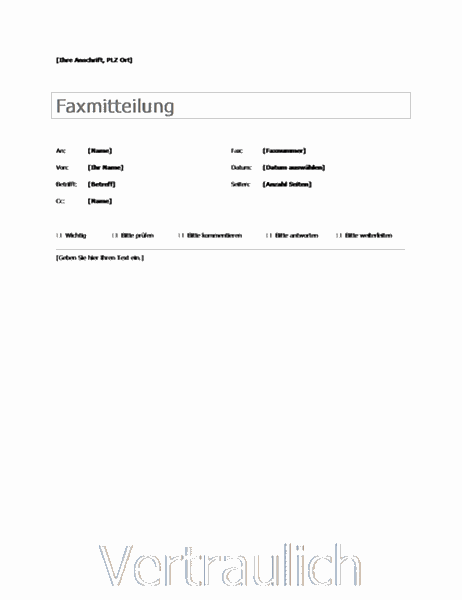 Standardfaxdeckblatt
