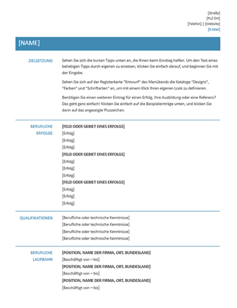 Qualifikationsbezogener Lebenslauf (einfaches Design)