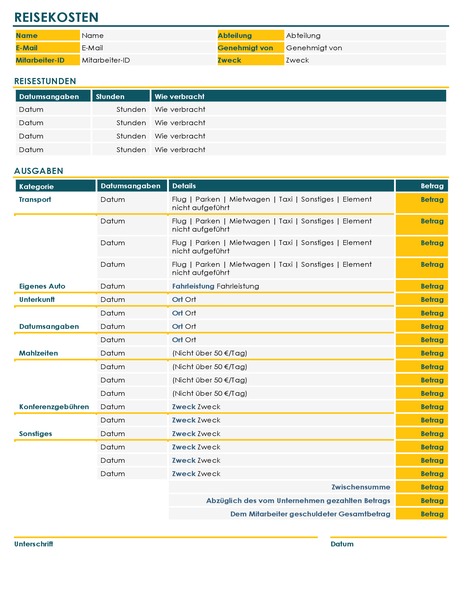 Reisekosten-Berichtsformular