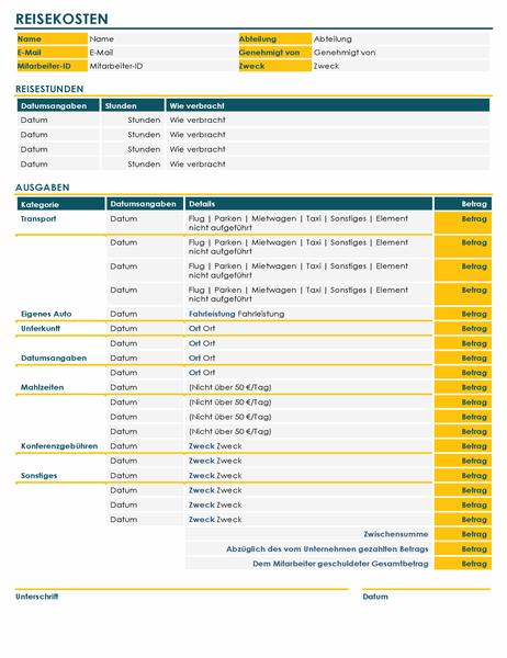 Formular für Reisekostenabrechnung