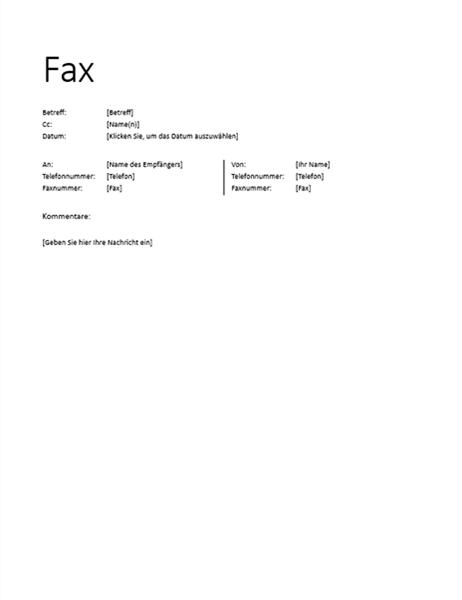 Faxdeckblatt (informell)