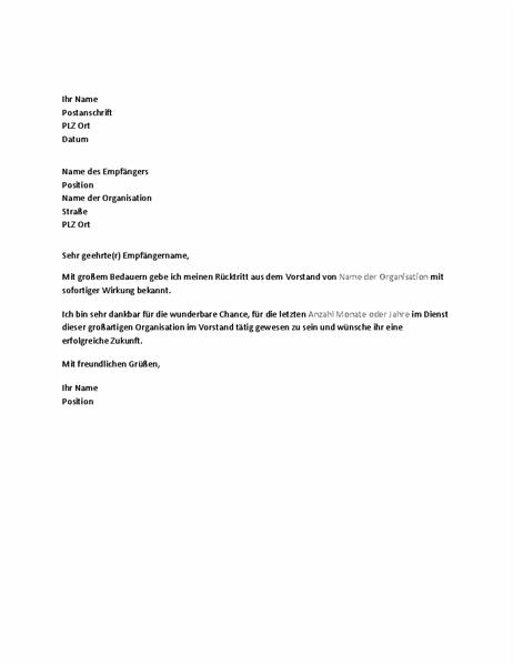 Schreiben zum Ausscheiden aus dem Vorstand