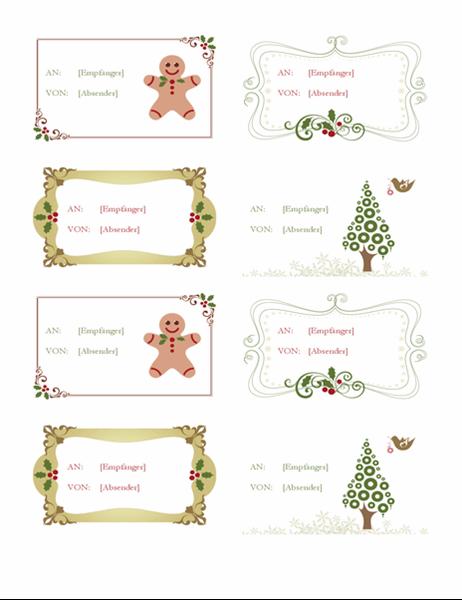 Geschenketiketten (Retro-Weihnachtsdesign, 8 pro Seite)