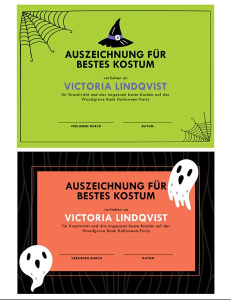 Auszeichnung für Halloween-Kostüm