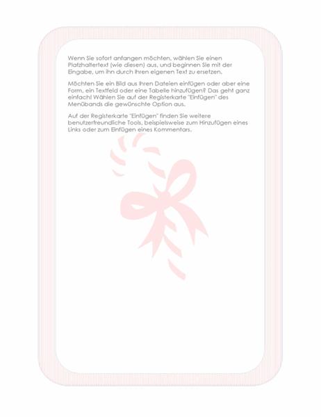 Feiertags-Briefpapier (mit Zuckerstangen-Wasserzeichen)