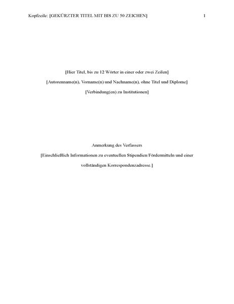 Bericht im APA-Format (6. Ausgabe)