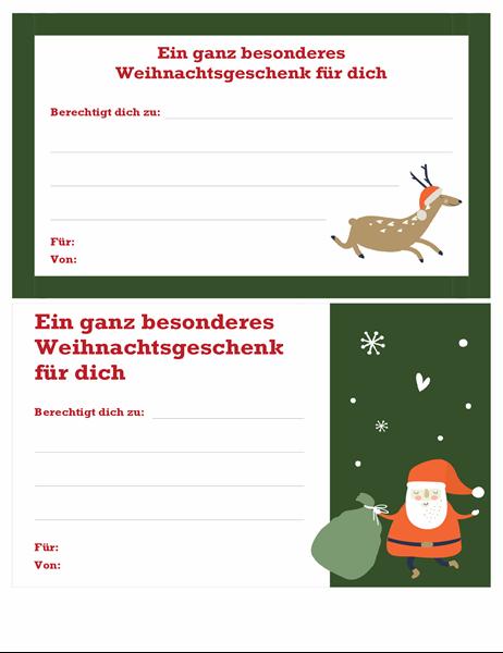 Weihnachtsgeschenkgutschein (Geist-der-Weihnacht-Design)