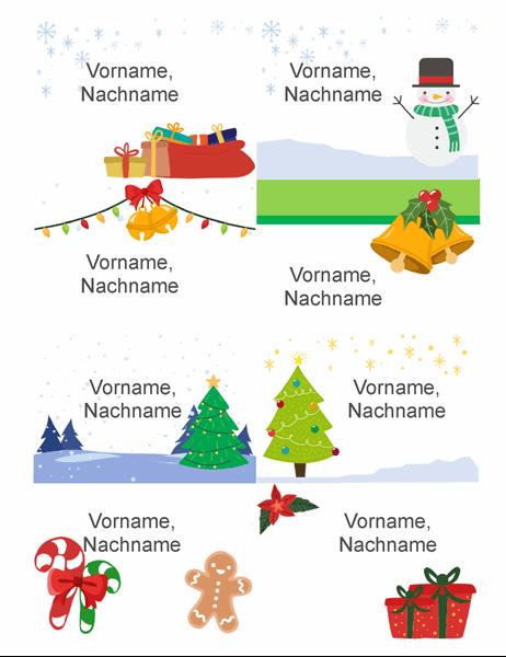 Weihnachtliche Namensschilder (8 pro Seite, Geist-der-Weihnacht-Design, für Avery 5395 und ähnliche)