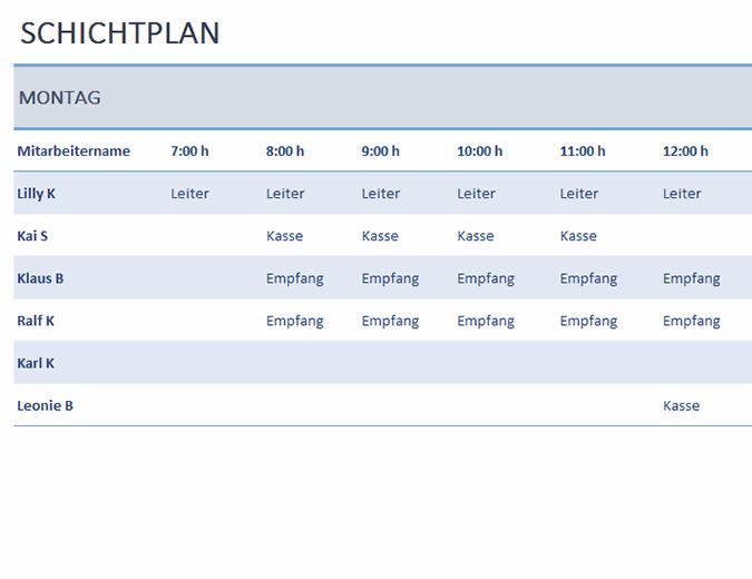 Wöchentlicher Mitarbeiterschichtplan