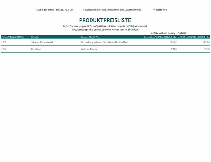 Produktpreisliste