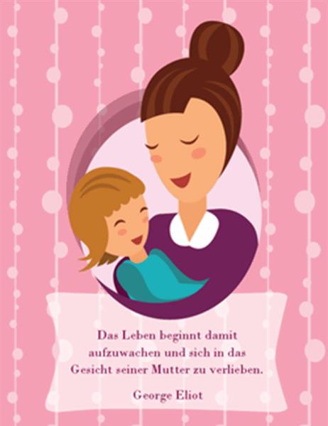 Muttertagskarte (mit Mutter und Baby, vierfach gefaltet)
