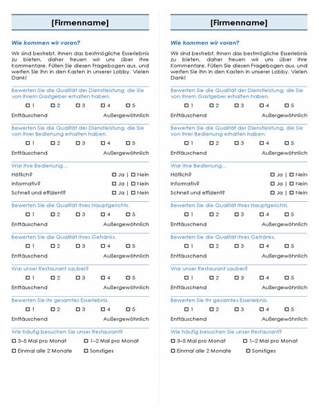Restaurantumfrage (2 pro Seite)