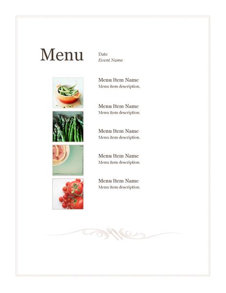 Speisekarte für Veranstaltung (einfaches Design)