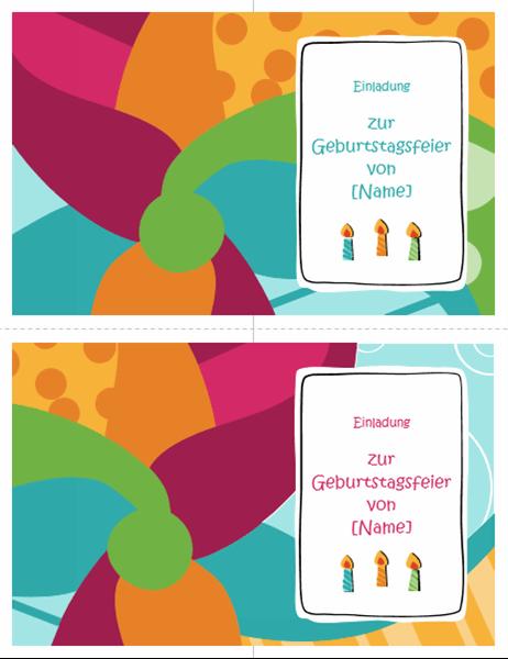 """Einladungskarten zur Geburtstagsparty (2 pro Seite, Design """"Hell"""")"""