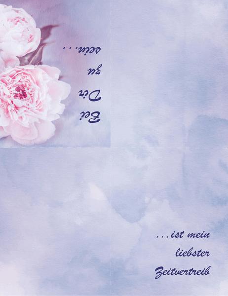 Liebeskarte (mit Rose, vierfach gefaltet)