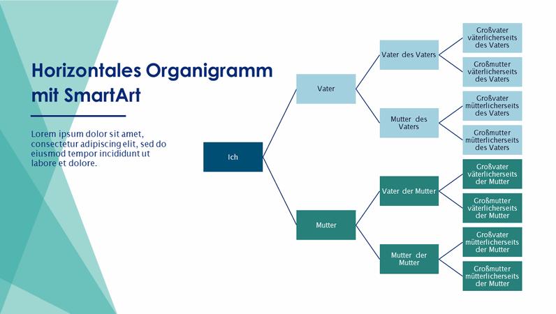 Diagramm für Familienstammbaum (horizontal, grün, weiß, Breitbild)