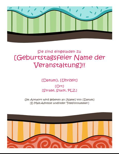 Geburtstags-Handzettel (helles Design)