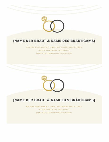 """Hochzeitseinladungen (Design """"Deco"""", 2 pro Seite)"""