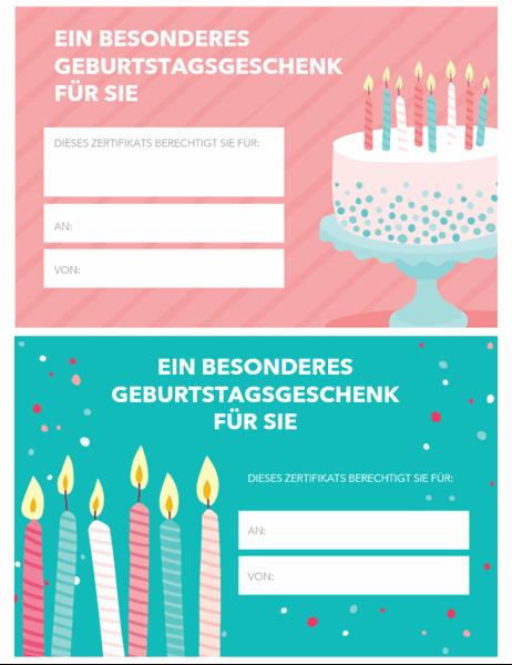 Geschenkgutschein zum Geburtstag (helles Design)