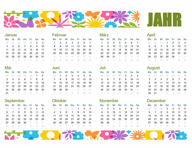 Verspielter Kalender für jedes Jahr
