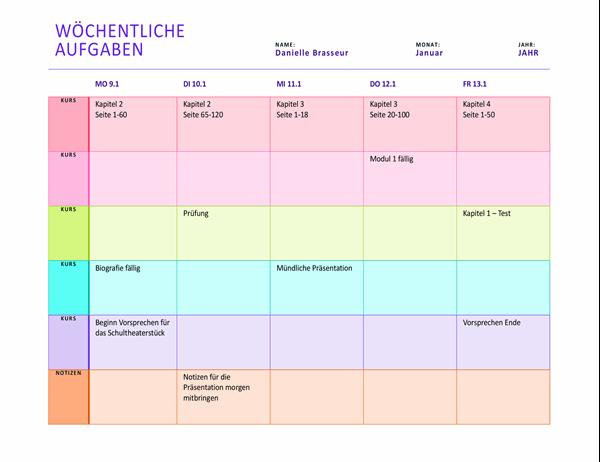 Wöchentlicher Aufgabenplan (farbig, Querformat)