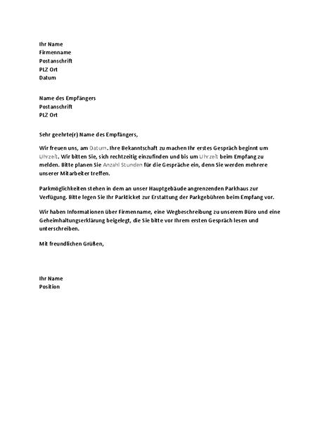 Brief zur Bestätigung eines Vorstellungstermins an einen Bewerber