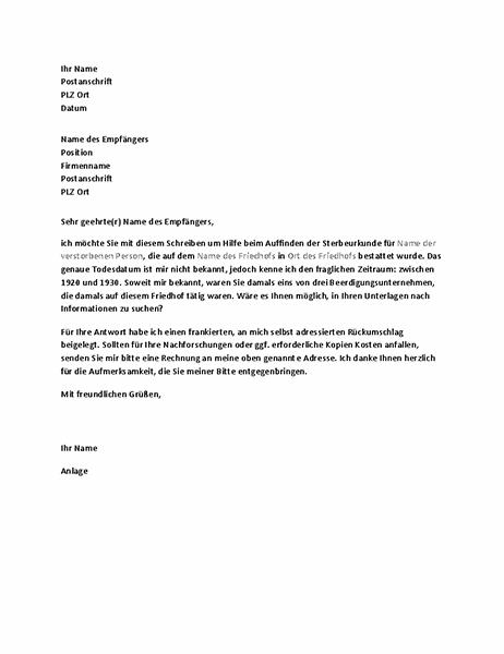Brief zur Bitte um Daten von Vorfahren bei einem Bestattungsinstitut