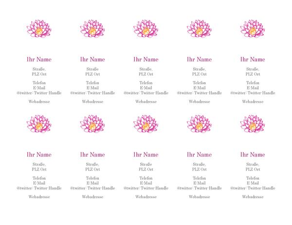 Private Visitenkarten mit Blumendesign (vertikal)