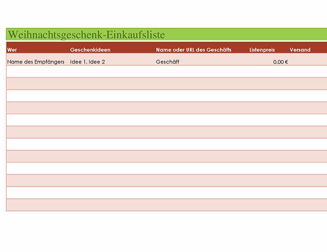Weihnachtsgeschenk-Einkaufsliste