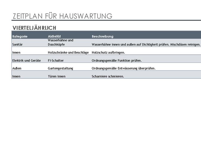 Zeitplan und Aufgabenliste für Hauswartung