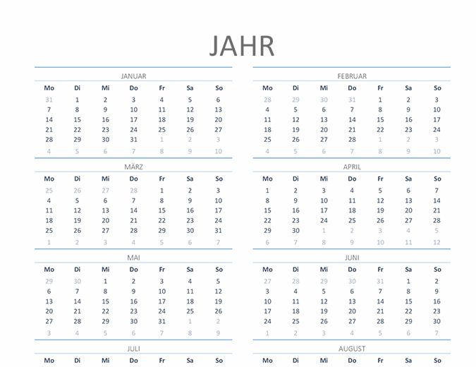 Jahreskalender für ein beliebiges Jahr (Mo-So)