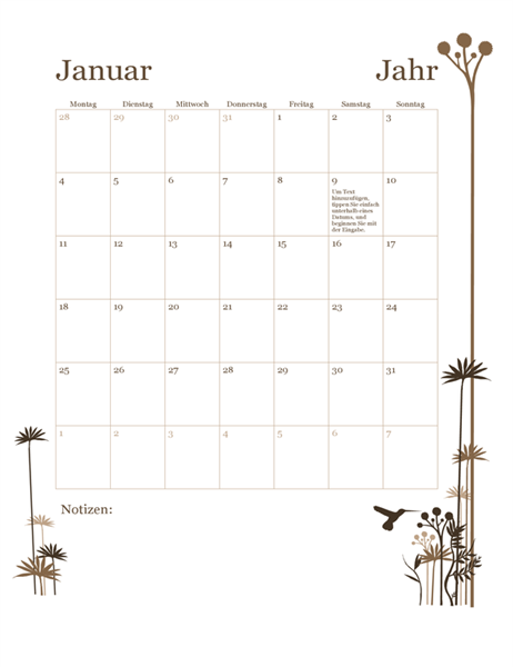 12-Monatskalender Kolibri (Mo.–So.)