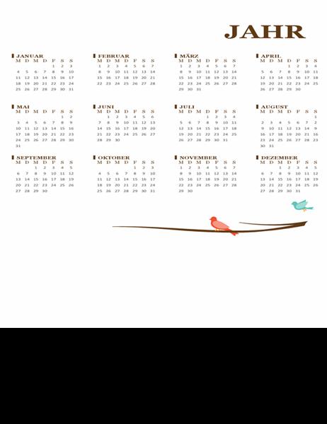 Jahreskalender Vogel (Mo.–So.)