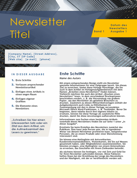 Newsletter für Unternehmen (4 Seiten)