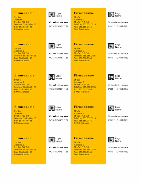 "Visitenkarten (Motiv: ""Balken"", 10 pro Seite)"