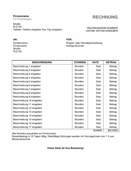 Rechnung über Dienstleistungen mit Stunden und Stundensatz