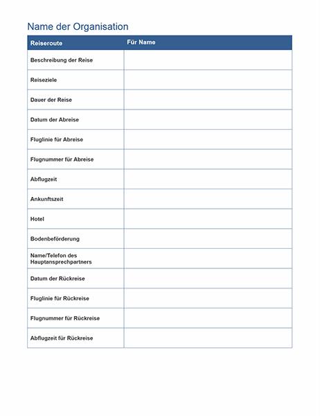 Reiseroute für Geschäftsreise mit Besprechungszeitplan