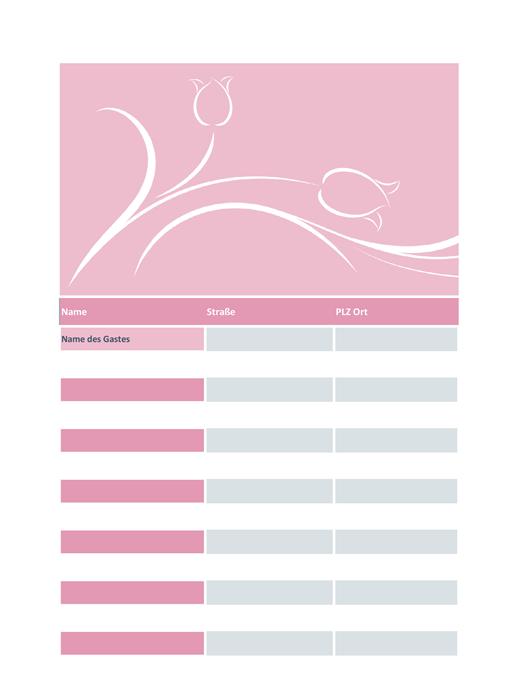 Hochzeitsgästeliste (mit Tulpen-Muster)