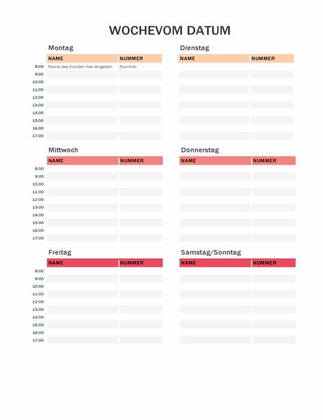 Kalender für wöchentliche Termine
