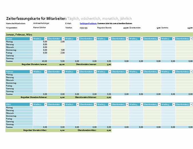 Zeiterfassungskarte für Mitarbeiter