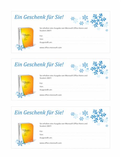 Geschenkgutschein für Microsoft Office Home and Student2007