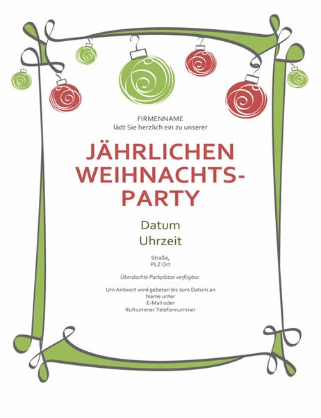 Einladung zur Weihnachtsparty mit Ornamenten und geschwungenem Rahmen (informelles Design)
