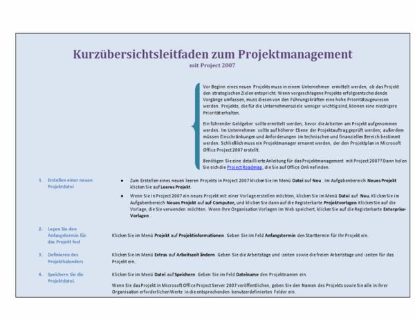 Kurzübersichtsleitfaden zum Projektmanagement mit Project 2007