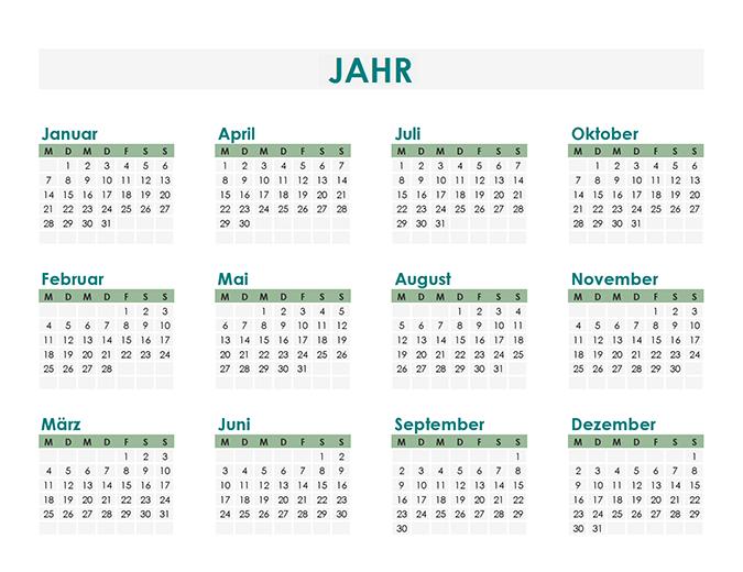 Kalendererstellung (beliebiges Jahr)