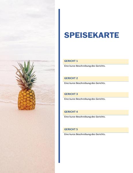 Speisekarte für Party (Sonne-und-Sand-Design)